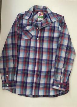 Burton Flannel Plaid Button Dryride Shirt Large Blue Red Gre