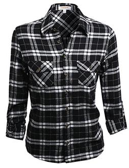 Awesome21 Flannel Plaid Checker Roll up Sleeves Button Down