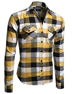Flannel Plaid Checkerd Long Sleeve TShirts Yellow Black Size