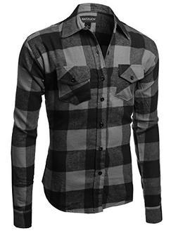 Flannel Plaid Checkerd Long Sleeve TShirts Charcoal Black Si