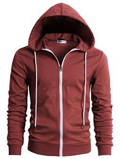 H2H Men's Flannel Plaid Checkered Long Sleeve Shirt Hoodie w