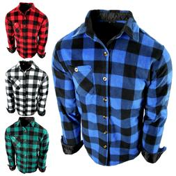 Flannel Plaid Shirt Mens Soft Fuzzy Fleece Stretch Pocket Lo