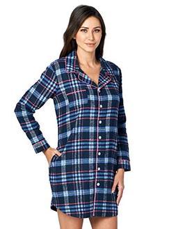 Ashford & Brooks Women's Flannel Plaid Sleep Shirt Button Do