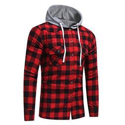 Ankola Men's Flannel Plaid Slim Fit Long Sleeve T Shirt Hood