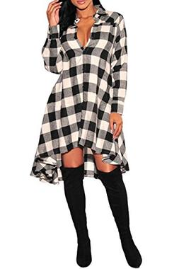 YMING Women's Flannel Plaid V Neck Button Down T Shirts Dres