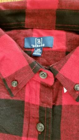 FLANNEL RED BLACK PLAID Men's Longsleeve SHIRT by George XLT