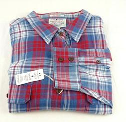 Lucky Brand Flannel Shirt 2XL Red Blue Plaid Classic Fit Tru