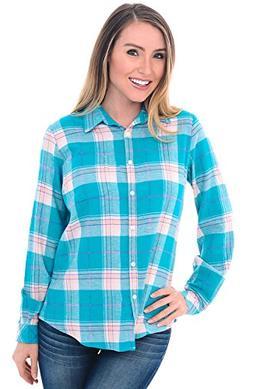 Alexander Del Rossa Womens Flannel Shirt, Button-Down Cotton