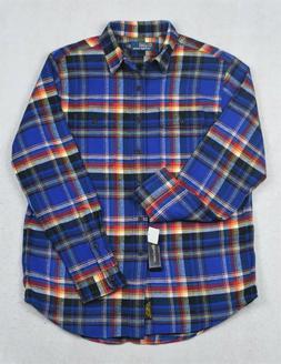Polo Ralph Lauren Flannel Shirt Blue Plaid Workshirt M L NWT