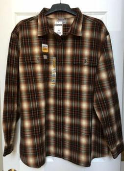 Carhartt Flannel Shirt Brown White Plaid Button Up Heavyweig