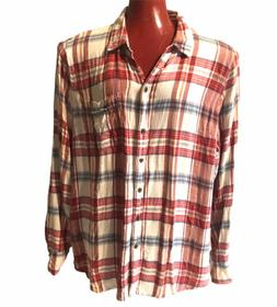 LUCKY BRAND Flannel Shirt Button Down Pocket Size Large Plai