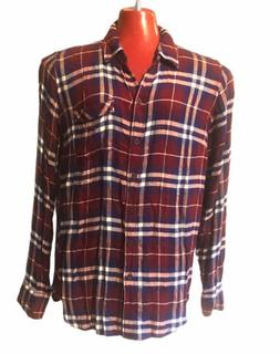 LUCKY BRAND Flannel Shirt Button Down Pocket Size Small Plai