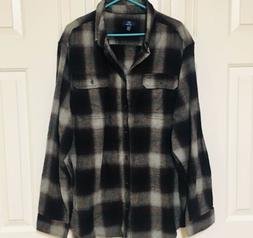 George Flannel Shirt Button Front Long Sleeve Burgundy Gray