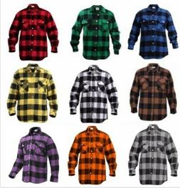 Flannel Shirt Extra Heavyweight Brawny Buffalo Plaid Long Sl