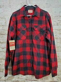 Wrangler Flannel Shirt Red Plaid Fleece Large Button Down NW