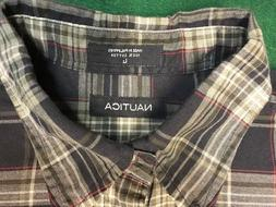 NAUTICA Flannel Shirt Size Large Blue/White/Red/Green Stay w