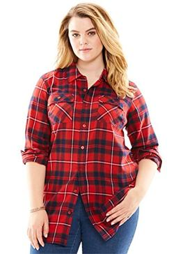 Roamans Women's Plus Size Flannel Plaid Shirt