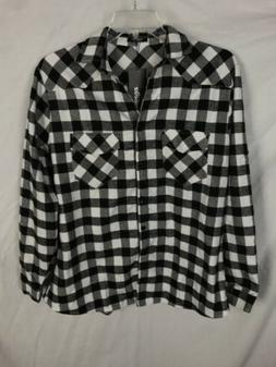 Zeagoo Flannel Shirt Women's XXL NWT White Black Button Fron