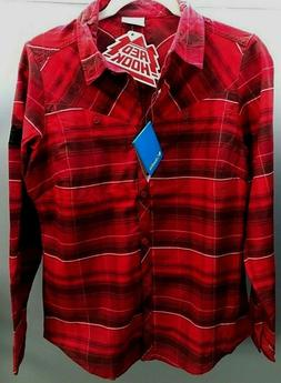 Columbia Flannel Shirt Womens Pettygrove Plaid Button Up Red
