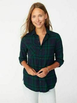 Old Navy Flannel Shirt XS Green Navy Plaid NWT