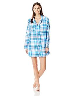 Bottoms Out Women's Flannel Sleep Shirt, Blue/Lavender, Larg