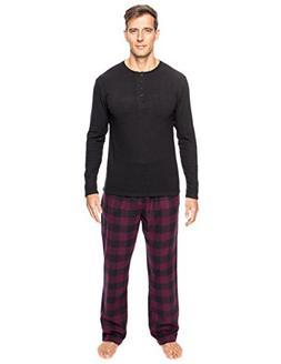 Men's Premium Flannel Thermal Lounge Set - Gingham Fig/Black