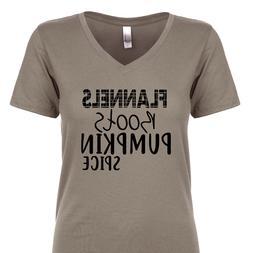 Flannels Boots Pumpkin Spice Women's V-Neck T-Shirt Fall Har