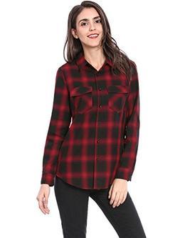 Allegra K Women's Flap Pockets Button Down Cotton Plaid Shir