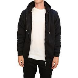 Maxxsel Mens Fleece Jacket Heavy Polar Fur lined Zip Up Hood
