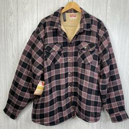 Fleece Lined Black Gray Plaid Flannel Shirt Size 3XL Mens Sh