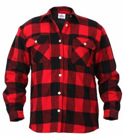 Fleece Lined Flannel Shirt Red Buffalo Plaid Rotcho 2739