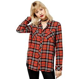 Volcom Junior's Fly High L/s Plaid Top, Rust , S