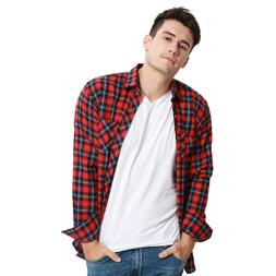 JeeToo <font><b>Flannel</b></font> Plaid <font><b>Shirts</b>