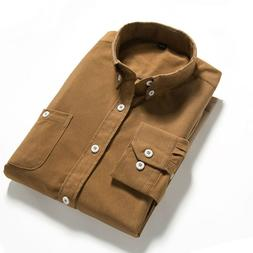 <font><b>Shirts</b></font> Men Long Sleeves Corduroy Dress <