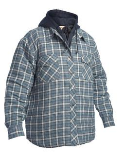 Work King Men's Fooler Front Quilted Shirt with Hood, Flanne