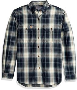 Carhartt Men's Fort Plaid Long Sleeve Shirt, Navy, X-Large