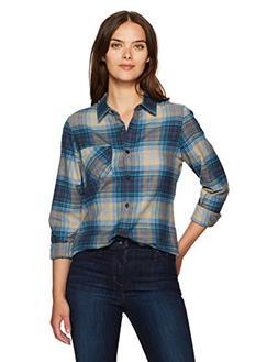 Pendleton Women's Frankie Flannel Shirt, Grey/Blue Plaid, XS