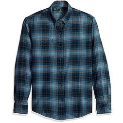 G.h. Bass & Co. Fireside Plaid Flannel Blue Wing Teal Mens X