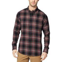 G.H. Bass & Co. Mens Fireside Black Flannel Button-Down Shir