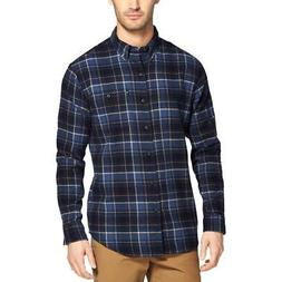 G.H. Bass & Co. Mens Fireside Navy Flannel Button-Down Shirt