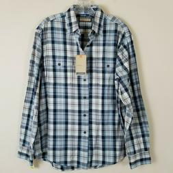 G.H. Bass & Co. Mountain Twill Plaid Flannel Shirt Blue Whit