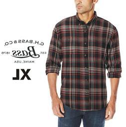 G.H. Bass Plaid Flannel Shirt Men's XL - Black Red Gray Extr