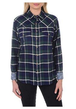 Jachs Girlfriend Girl's Flannel Shirts, GreenNavy, Size XXL