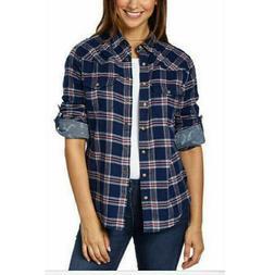 Jachs Girlfriend Women's Flannel Shirt Roll Tab Sleeves Butt