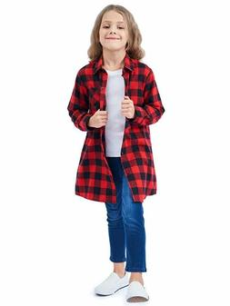girls long sleeve button down plaid flannel