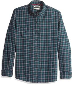 Goodthreads Men's Standard-Fit Long-Sleeve Plaid Heather Fla