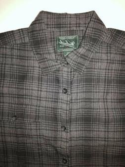 Woolrich Gray & Black Plaid Flannel Mens Long Sleeve Shirt L