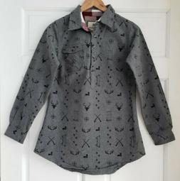 Legendary Whitetails Gray Flannel Popover Shirt Firelight Ch
