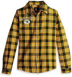 FOCO Green Bay Packers 2016 Wordmark Basic Flannel Shirt - W
