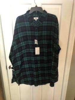 Green ~ Croft & Barrow Men's Extra Soft Flannel Shirt ~ Big